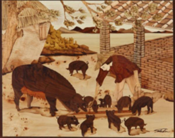 木箔藝術畫作-農村文化系列-諸事如意 樂 畫,藝術,農村,文化,幸福