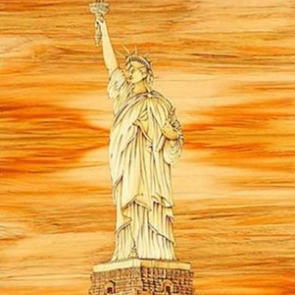 木箔藝術畫作-自由女神 畫,藝術,冠軍,榮耀,第一名,愛,自由,美國,法國,紐約,現代藝術