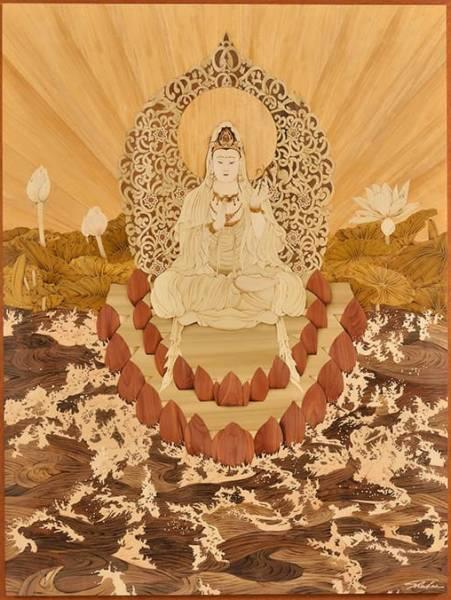 木箔藝術畫作-觀自在 (楊柳觀音) 畫,藝術,觀世音菩薩,波羅蜜,心經,宗教藝品,佛教,廳堂擺飾