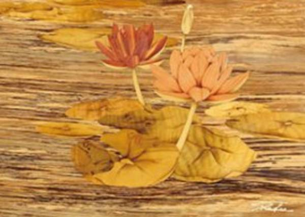 木箔藝術畫作-水蓮 鳴 畫,藝術,蓮花