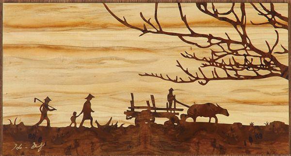 木箔藝術畫作-農村文化系列-夕陽伴我歸 畫,藝術,農村,文化