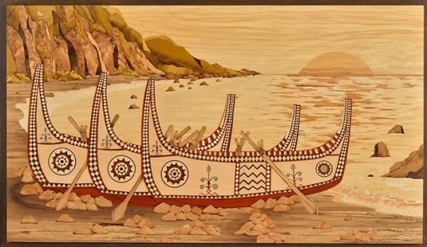 木箔藝術畫作-印象蘭嶼 畫,藝術,台灣,蘭嶼,拼板舟,原住民文化