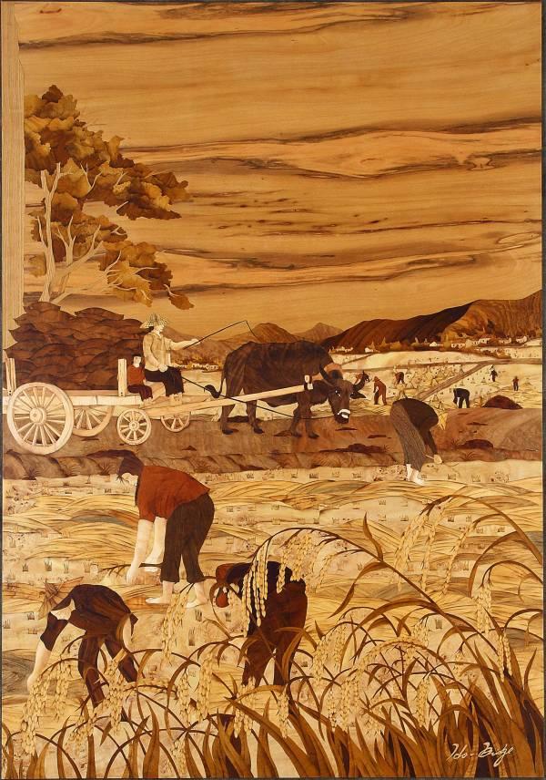 木箔藝術畫作-農村文化系列-豐收與分享 畫,藝術,農村,文化,禮品,客製化