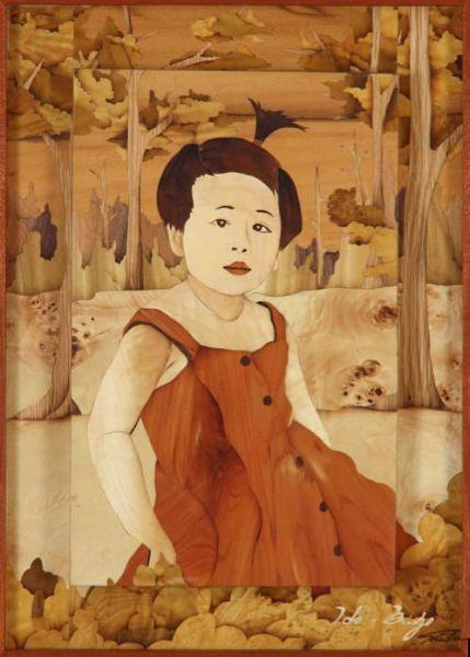 木箔藝術畫作-森林中的小朋友 畫,藝術,禮品,客製化,小孩