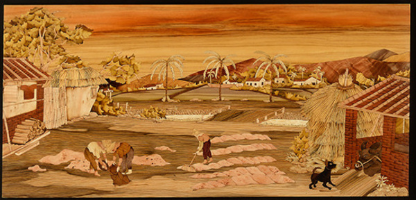木箔藝術畫作-農村文化系列-農家樂 曬榖 畫,藝術,農村文化,米