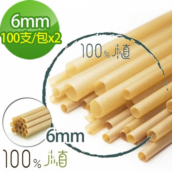 【100%植】 100%植甘蔗環保吸管斜口6mm(100支/包)x2